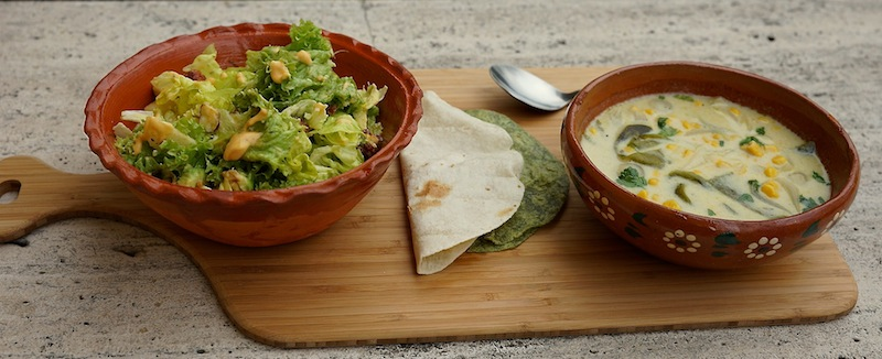 Food 6 014 copy Green Salad with Guava Vinaigrette & Roasted Poblano Soup