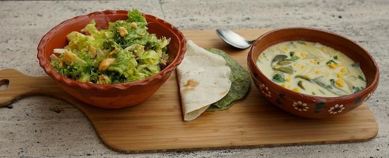 Food 6 014 copy Green Salad with Guava Vinaigrette & Roasted Poblano Soup