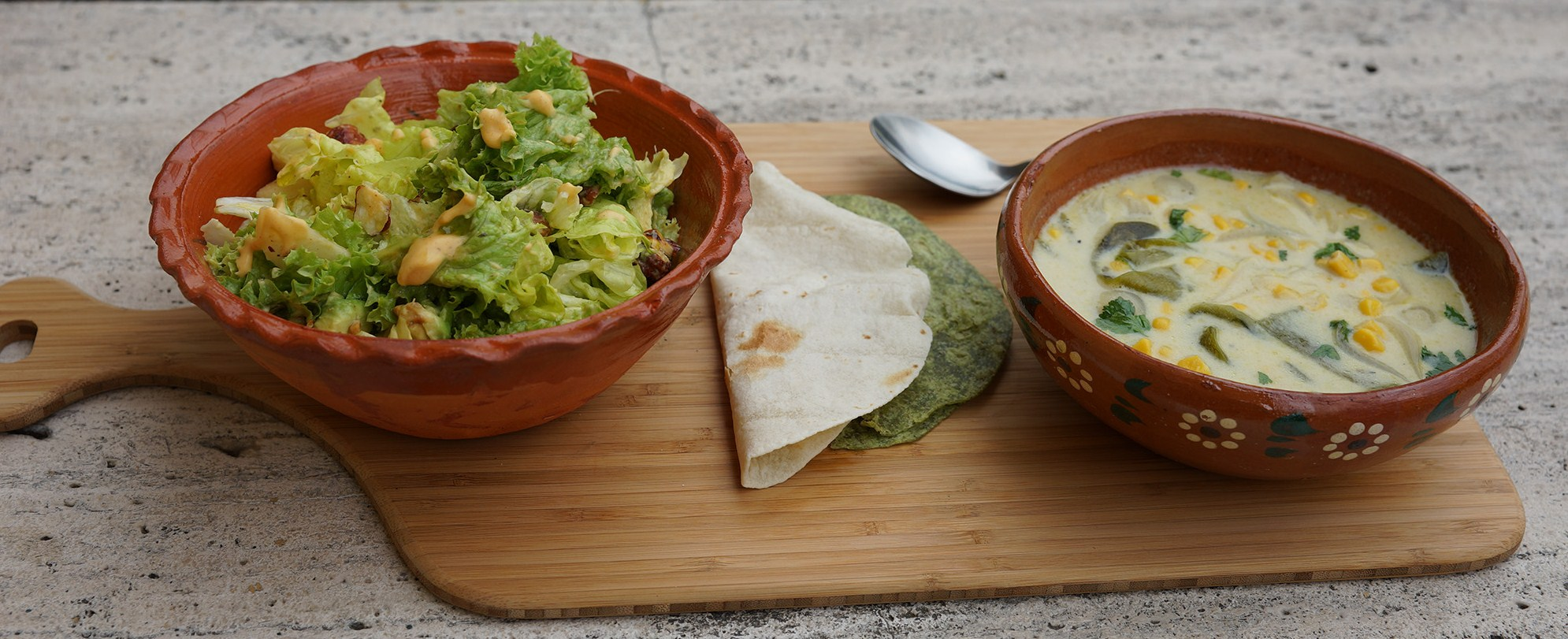 Green salad with Guava vinaigrette & Corn and Roasted Poblano Soup