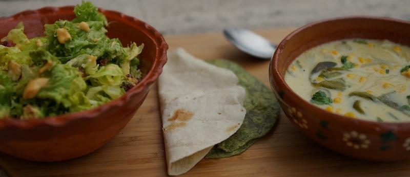 Food 6 024a copy Green Salad with Guava Vinaigrette & Roasted Poblano Soup