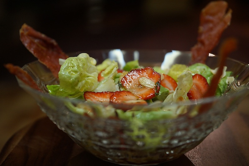 Strawberry Salad with Almonds & Jamon Serrano