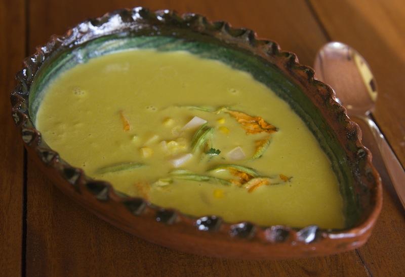 Zucchini blossoms creamy soup
